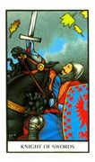 Knight of Swords Tarot card in Connolly deck