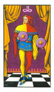 Two of Pentacles Tarot card in Connolly deck