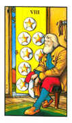Eight of Pentacles Tarot card in Connolly deck