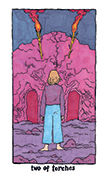 Two of Torches Tarot card in Cosmic Slumber deck