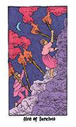 Five of Torches Tarot card in Cosmic Slumber deck