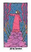 Six of Torches Tarot card in Cosmic Slumber deck