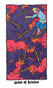 Seven of Torches Tarot card in Cosmic Slumber deck