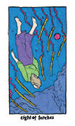 Eight of Torches Tarot card in Cosmic Slumber deck