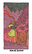 Nine of Torches Tarot card in Cosmic Slumber deck