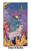 Knight of Torches Tarot card in Cosmic Slumber deck