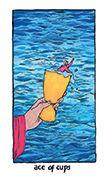 Ace of Cups Tarot card in Cosmic Slumber deck