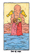 Two of Cups Tarot card in Cosmic Slumber deck