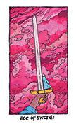 Ace of Swords Tarot card in Cosmic Slumber deck