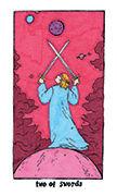Two of Swords Tarot card in Cosmic Slumber deck