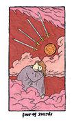 Four of Swords Tarot card in Cosmic Slumber deck