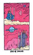 Five of Swords Tarot card in Cosmic Slumber deck