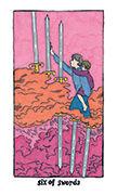 Six of Swords Tarot card in Cosmic Slumber deck