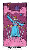 Eight of Swords Tarot card in Cosmic Slumber deck