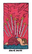 Nine of Swords Tarot card in Cosmic Slumber deck