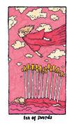 Ten of Swords Tarot card in Cosmic Slumber deck