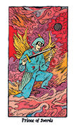 Knight of Swords Tarot card in Cosmic Slumber deck