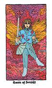 Queen of Swords Tarot card in Cosmic Slumber deck