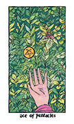 Ace of Pentacles Tarot card in Cosmic Slumber deck