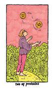 Two of Pentacles Tarot card in Cosmic Slumber deck