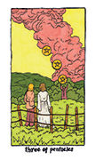 Three of Pentacles Tarot card in Cosmic Slumber deck