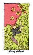 Five of Pentacles Tarot card in Cosmic Slumber deck
