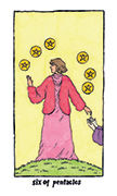 Six of Pentacles Tarot card in Cosmic Slumber deck