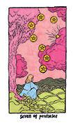 Seven of Pentacles Tarot card in Cosmic Slumber deck