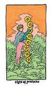 Eight of Pentacles Tarot card in Cosmic Slumber deck