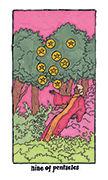 Nine of Pentacles Tarot card in Cosmic Slumber deck