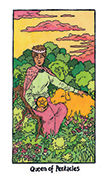 Queen of Pentacles Tarot card in Cosmic Slumber deck