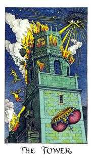 The Falling Tower Tarot Card - Cosmic Tarot Deck