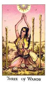 Three of Batons Tarot Card - Cosmic Tarot Deck