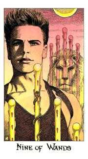 Nine of Batons Tarot Card - Cosmic Tarot Deck