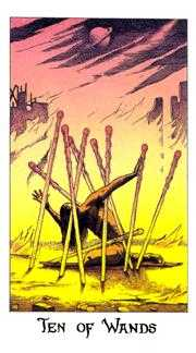 Ten of Wands Tarot Card - Cosmic Tarot Deck