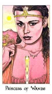 Princess of Staves Tarot Card - Cosmic Tarot Deck