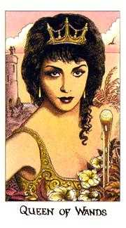 Queen of Batons Tarot Card - Cosmic Tarot Deck