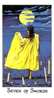 Seven of Arrows Tarot Card - Cosmic Tarot Deck