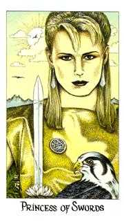 Daughter of Swords Tarot Card - Cosmic Tarot Deck