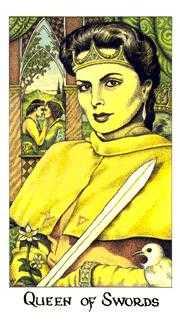 Queen of Arrows Tarot Card - Cosmic Tarot Deck
