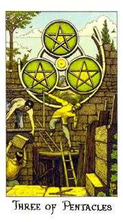 Three of Coins Tarot Card - Cosmic Tarot Deck