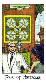 Four of Pentacles Tarot Card - Cosmic Tarot Deck