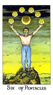 Six of Pentacles Tarot Card - Cosmic Tarot Deck