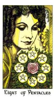 Eight of Coins Tarot Card - Cosmic Tarot Deck