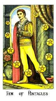 Ten of Coins Tarot Card - Cosmic Tarot Deck