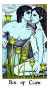 Six of Cups Tarot card in Cosmic Tarot deck