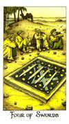Four of Swords Tarot card in Cosmic Tarot deck