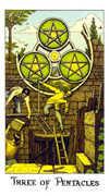 Three of Coins Tarot card in Cosmic Tarot deck