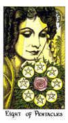 Eight of Coins Tarot card in Cosmic Tarot deck