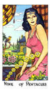 Nine of Coins Tarot card in Cosmic deck
